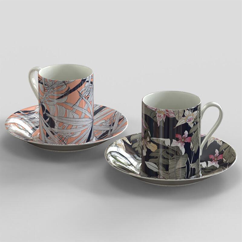 Wholesale Fine Bone China Tea Coffee Mug Square Tea Cup Sets