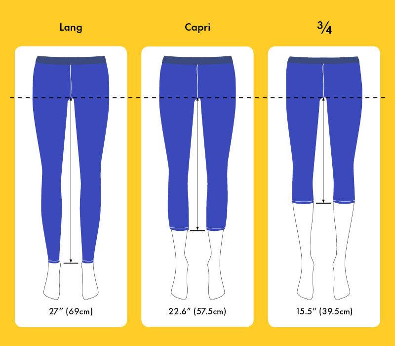 leggings in voller lange, capri laenge oder dreiviertel laenge