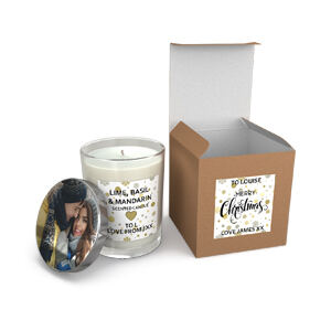 personalised glass candle