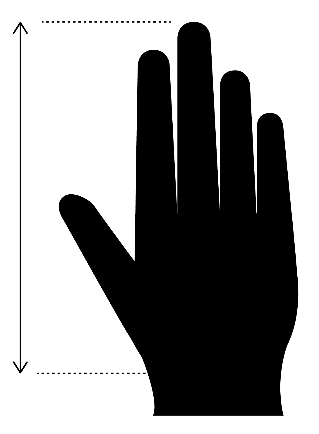Measure from top of middle finger to base of hand