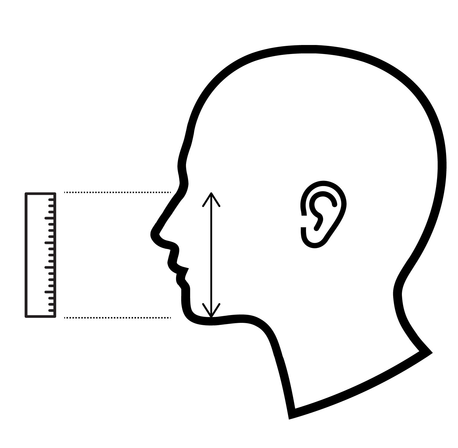 Measurement 2: Bridge of nose to just under chin (max.)